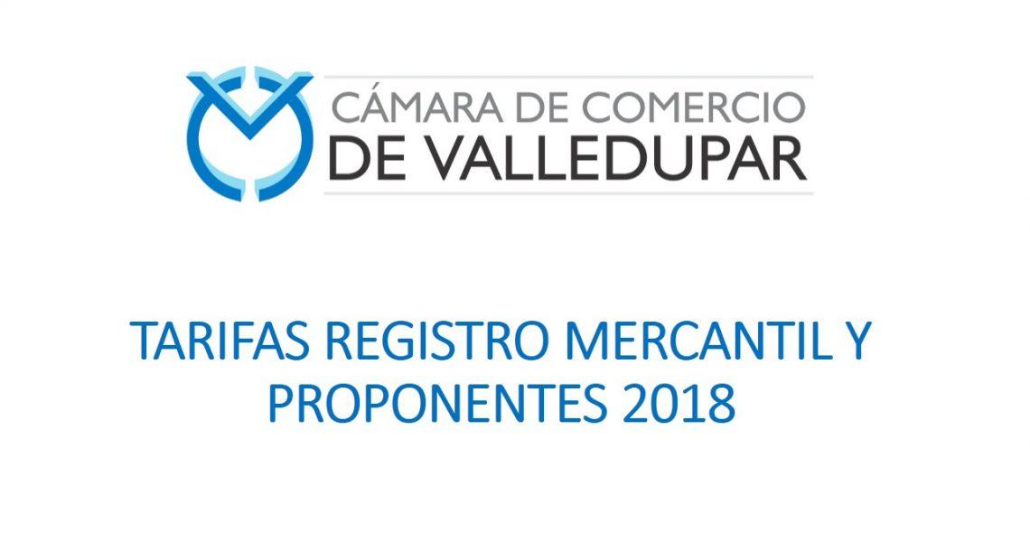 TARIFAS REGISTRO MERCANTIL Y PROPONENTES